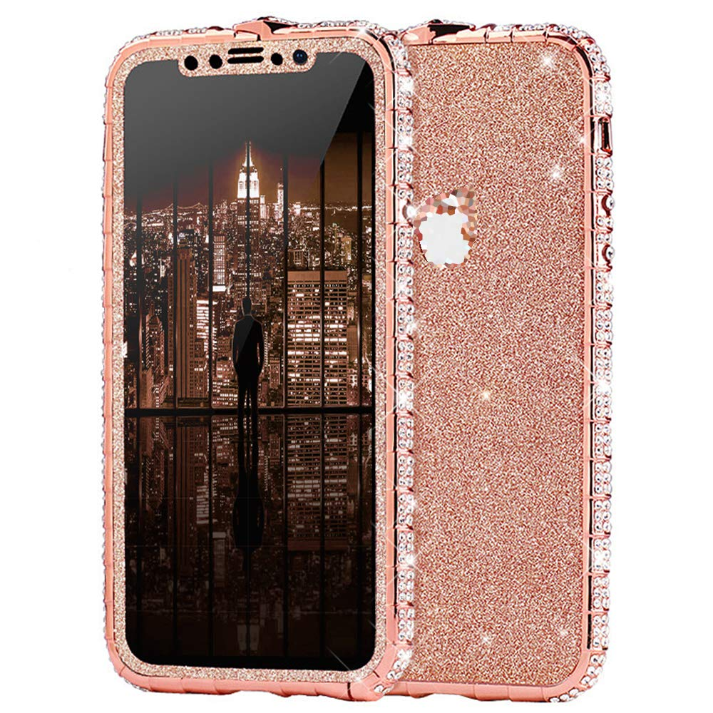 Case for iPhone XR Cover,Girls and Women Luxury Sparkly Bling Glitter Rhinestone Diamond Metal Button Bumper Case Cover & Shiny Glitter Sticker Protective Cover for iPhone XR Diamond Case,Rose Gold by ikasus