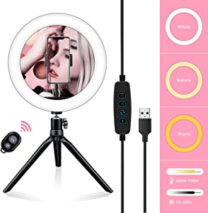 "Samuyang 10"" Selfie Ring Light with Tripod Stand & Phone Holder,Mini Desktop LED Portable Dimmible Makeup Ringlight for Photography, Pictures,Live Stream, YouTube Video, Shooting,TikTok"
