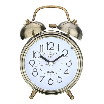 vintage alarm clock sound silent loud twin bell mute quartz analog retro bedside radio ge flip