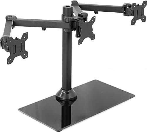 VIVO Black Triple Monitor Mount Freestanding Desk Stand with Glass Base | Heavy Duty Fully Adjustable Stand for 3 Screens up to 24 inches (STAND-V003FG)