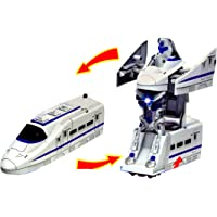 TOYMANIA Musical 2 in 1 Transformer Bullet Toy Train for Kids. | CONVERTS Train to Transformer Robot Action Figure. | Bump and GO Action. | Bullet Train Toys for Kids. (White Color)
