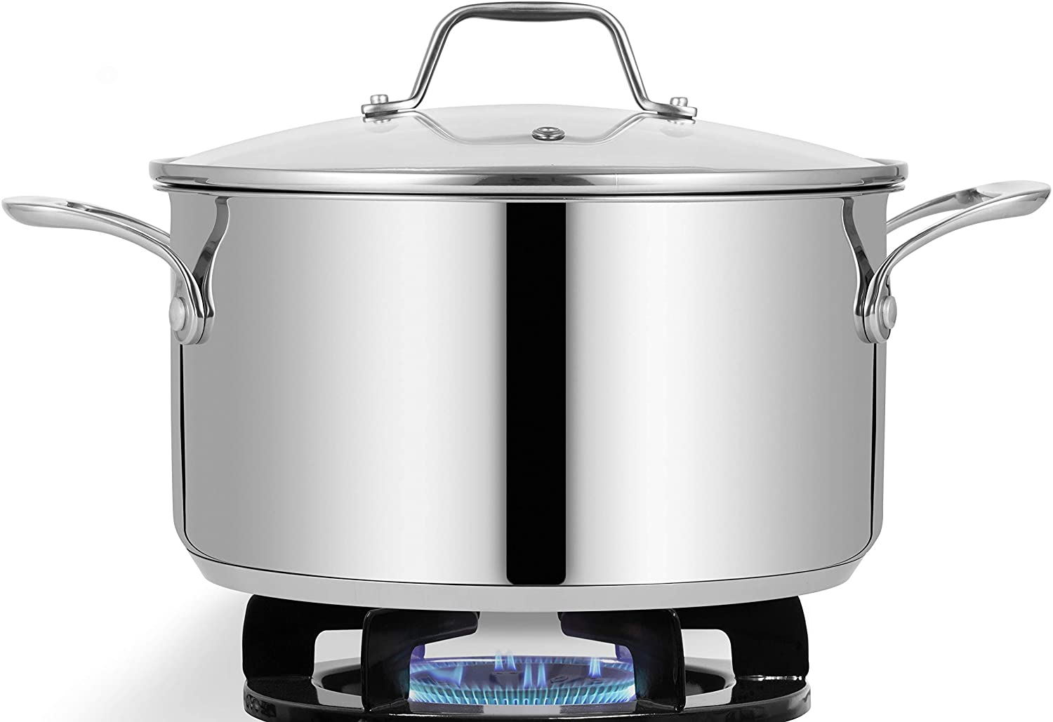 NutriChef Soup Pot with See Through Lid, Dishwasher Safe Stainless steel Pot Food Grade Heavy Duty Induction-Large, Stew, Simmering Se