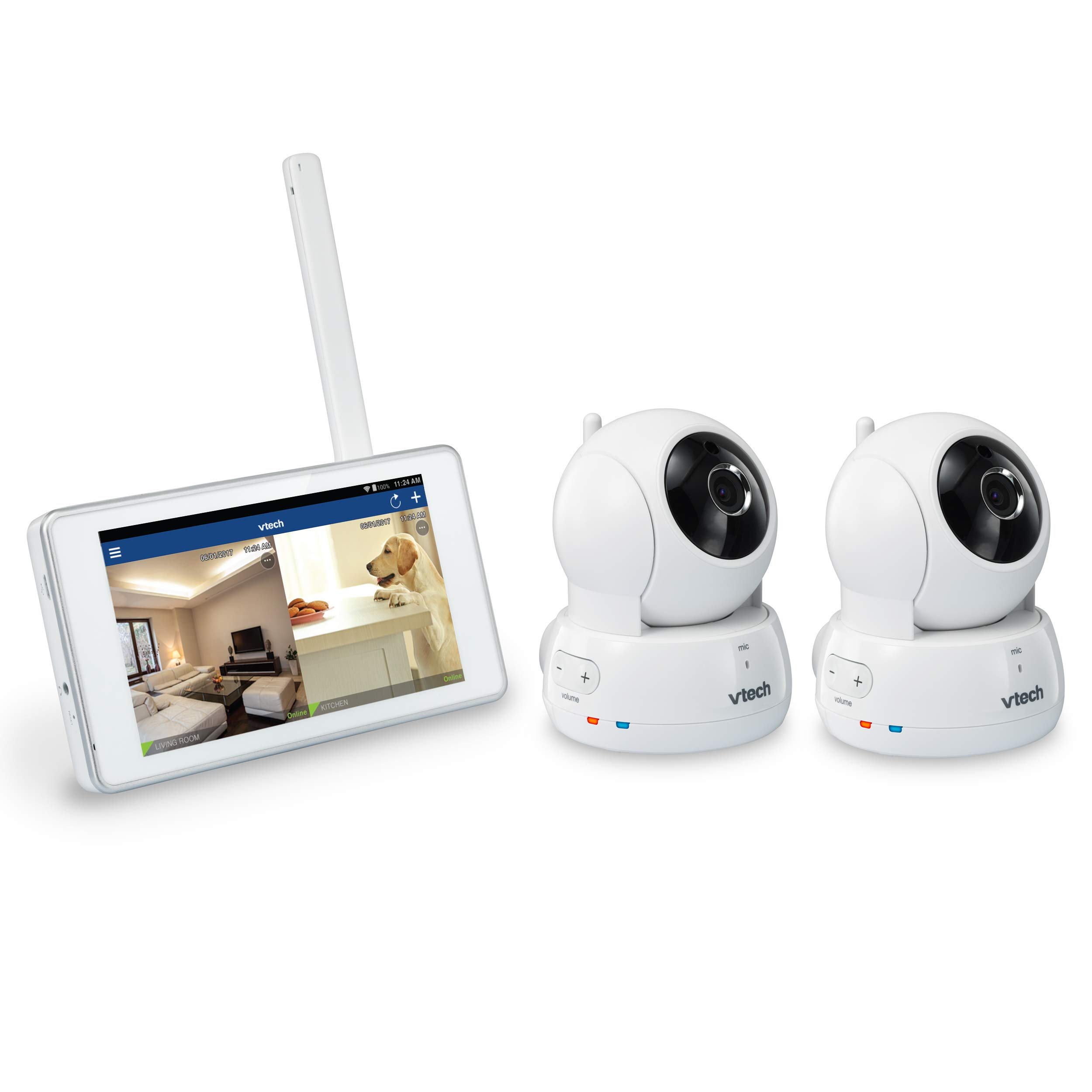 VTech VC9312-245 Wi-Fi IP Camera with 720p HD, Remote Pan & Tilt, Free Live Streaming, Automatic Infrared Night Vision & 5'' Home Viewer, Silver/White