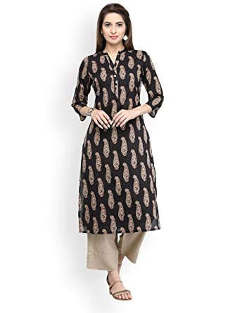 4e2d94373cd28 Amazon.com  Black Pure Cotton Printed Kurta Kurti For Indian Women Long  Dress Party Ware kurtis  Clothing