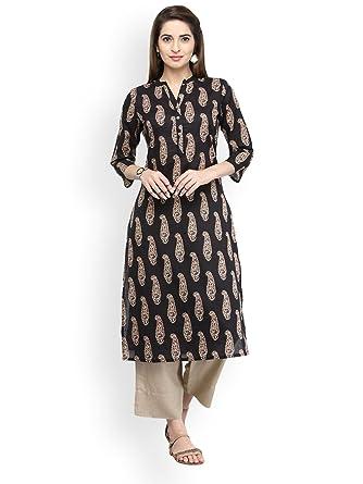 3e9d9bc3a9 Amazon.com: Hiral Designer mall Indian Womens Pure Cotton Printed Kurta  Kurti Cotton Clothing Dress: Clothing