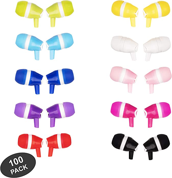 JustJamz Bubbles Colorful in-Ear Earbud Headphones 3.5 MM Bulk Earphones for iPhone Android Laptop Ideal for Students Kids Classrooms, 100 Pack