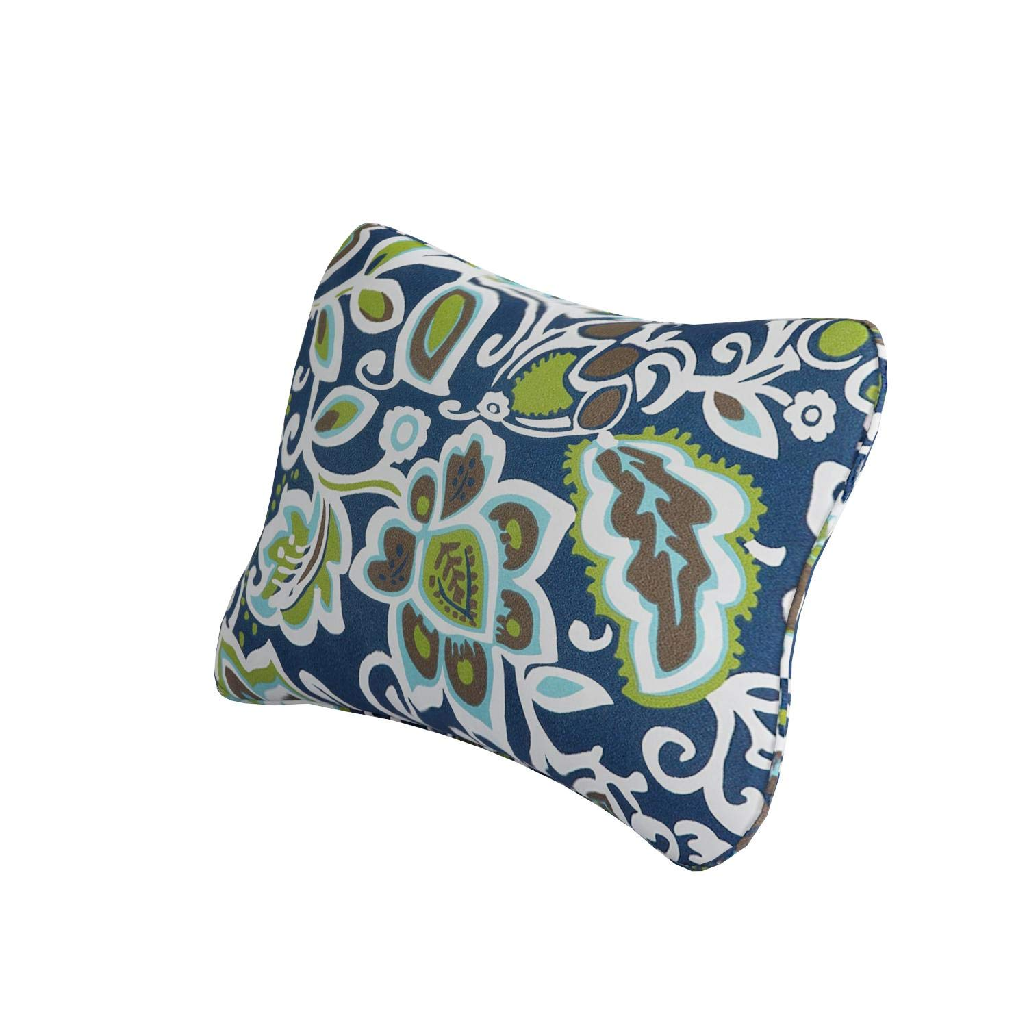 Set of 2 Mozaic Company Indoor// Outdoor 12 by 24-inch Corded Pillow Floral Navy