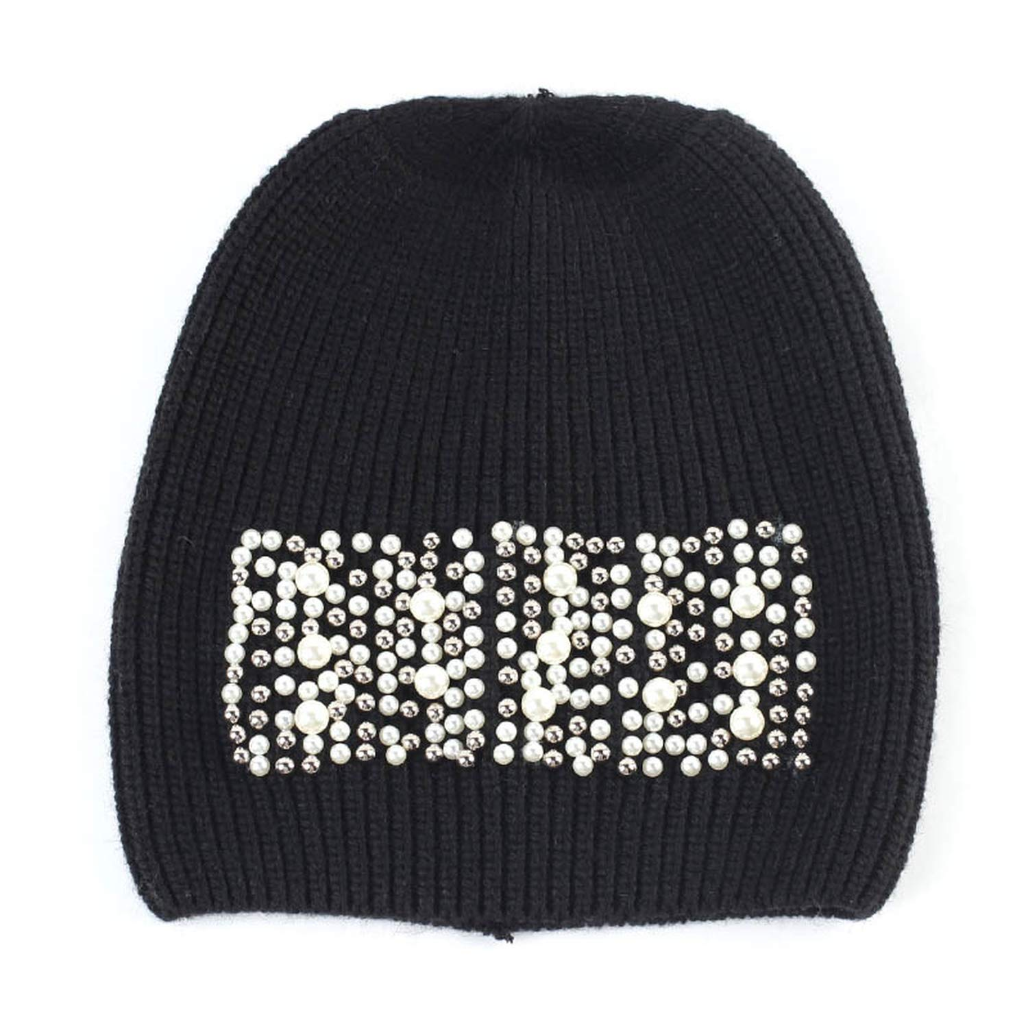 Womens Beanie Hats with Applique Winter Knitted Cashmere Pearl Slouchy Beanies Skullies Hats