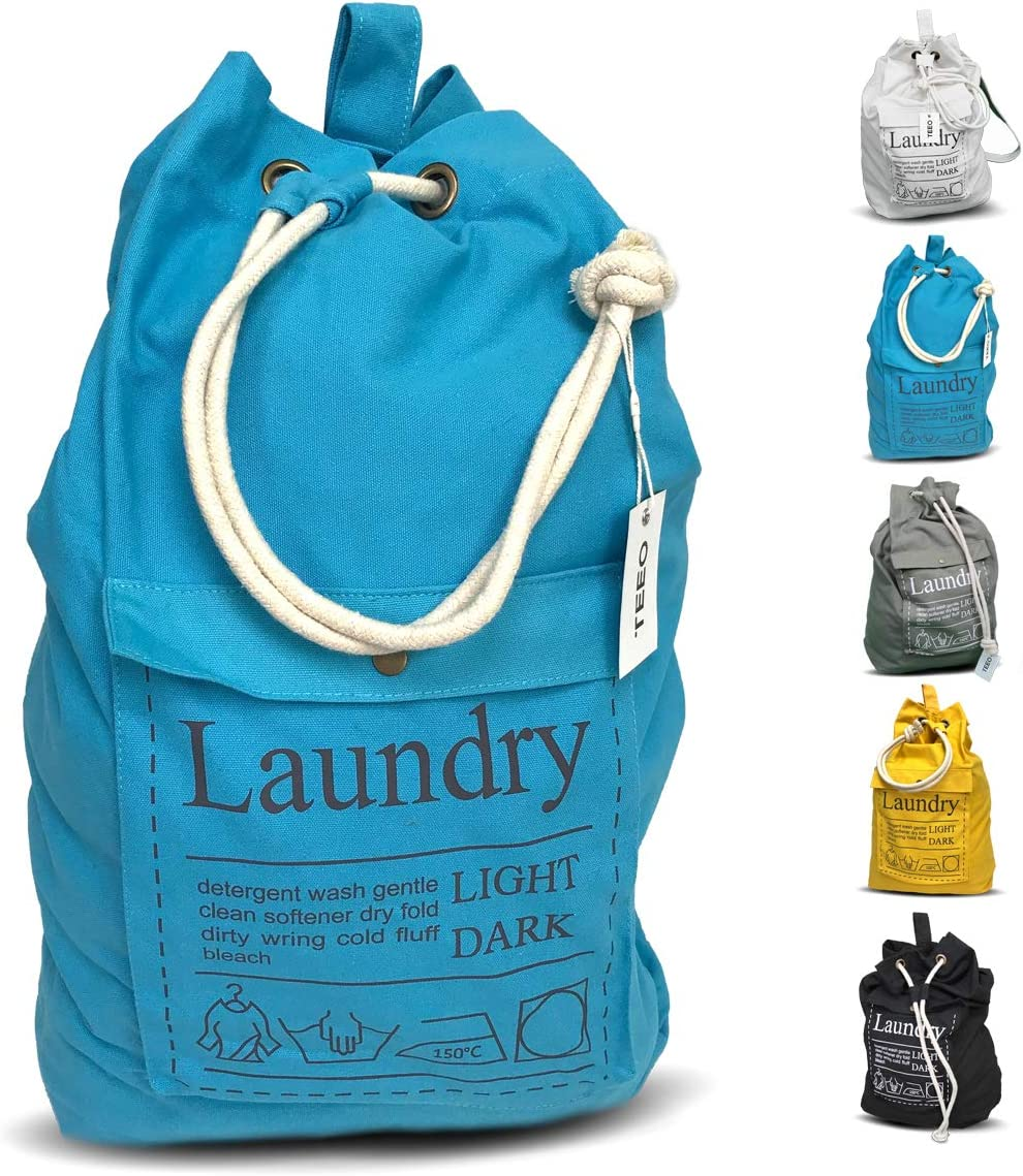 "Teeo Laundry Bag Backpack Large Spacious 25""X20"" Drawstring 100% Sturdy Cotton Canvas with Strap for College Students Dorm Room Clothes Hamper Storage Washer Organizer (Blue)"