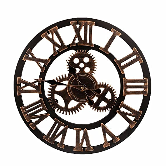 Amazon.com: FunnyToday365 Big Clock Wooden Nature Gears Wall Clock Retro Clock Wall Hanging Watches Living Room Decorative Reloj Pared Wanduhr: Home & ...