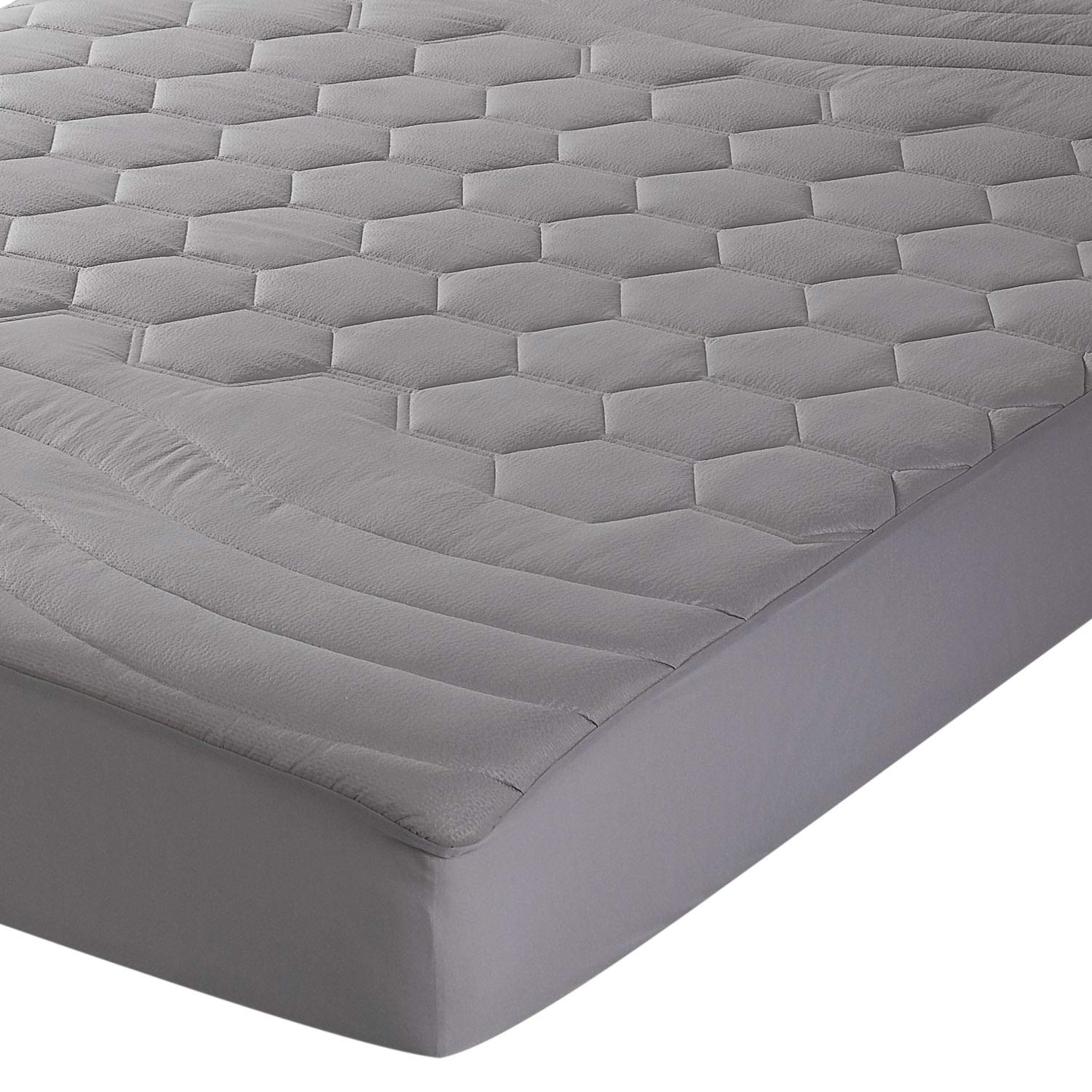 Bedsure Quilted Mattress Pad Twin XL/Twin Extra Long Size Grey Fitted Sheet Mattress Cover, Super Soft - Hypoallergenic, Luxury Mattress Protector Stretches up to 18 Inches Deep