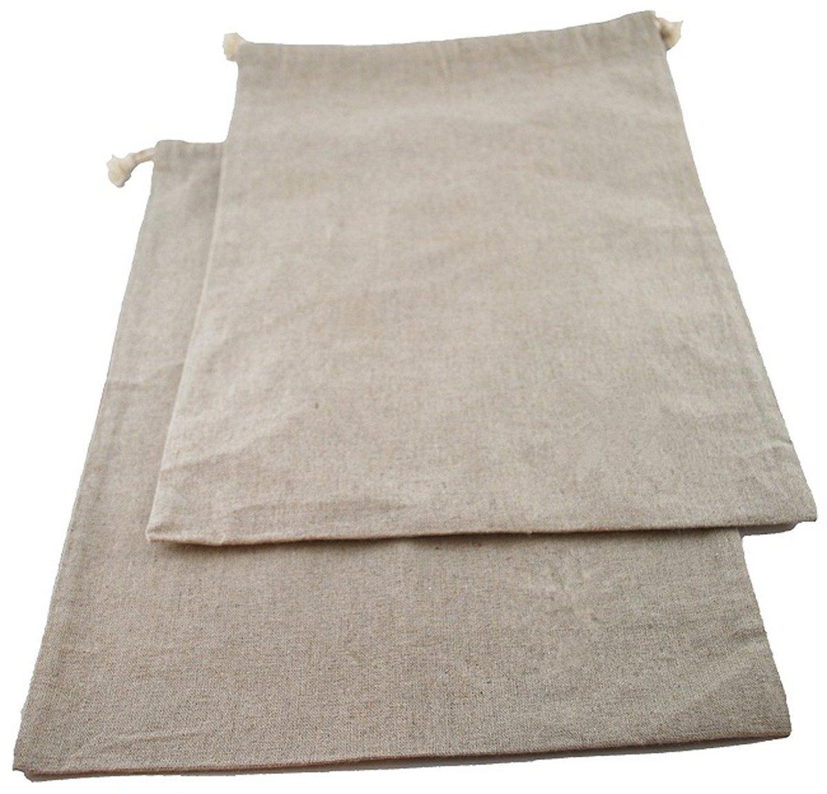 almacenamiento de alimentos reutilizables Paquete de 2 bolsas de almacenamiento de pan de gran tama/ño para pan casero Hecho de algod/ón de lino transpirable 15x13 pulgadas 38x33 cm Sweet Needle