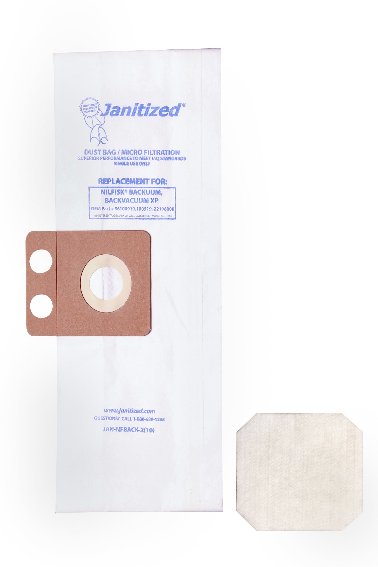 Janitized JAN-NFBACK-2(10) Premium Replacement Commercial Vacuum Paper Bag for Nilfisk Backuum and Back Pack XP, Includes 2 Pre-Filters, OEM#56100919, 100919, 22198000 (Pack of 10)