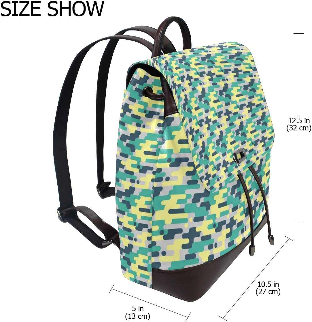 Unisex PU Leather Backpack Camo for Men Colorful Print Womens Casual Daypack Mens Travel Sports Bag Boys College Bookbag