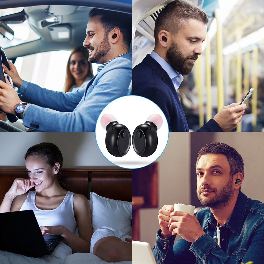 Mini Bluetooth Earbuds, PChero Wireless Invisible Headphone with Built-in Mic and Charging Box, Ideal for iOS Android Smartphones Tablets (Black, Double Ears) by PChero (Image #6)