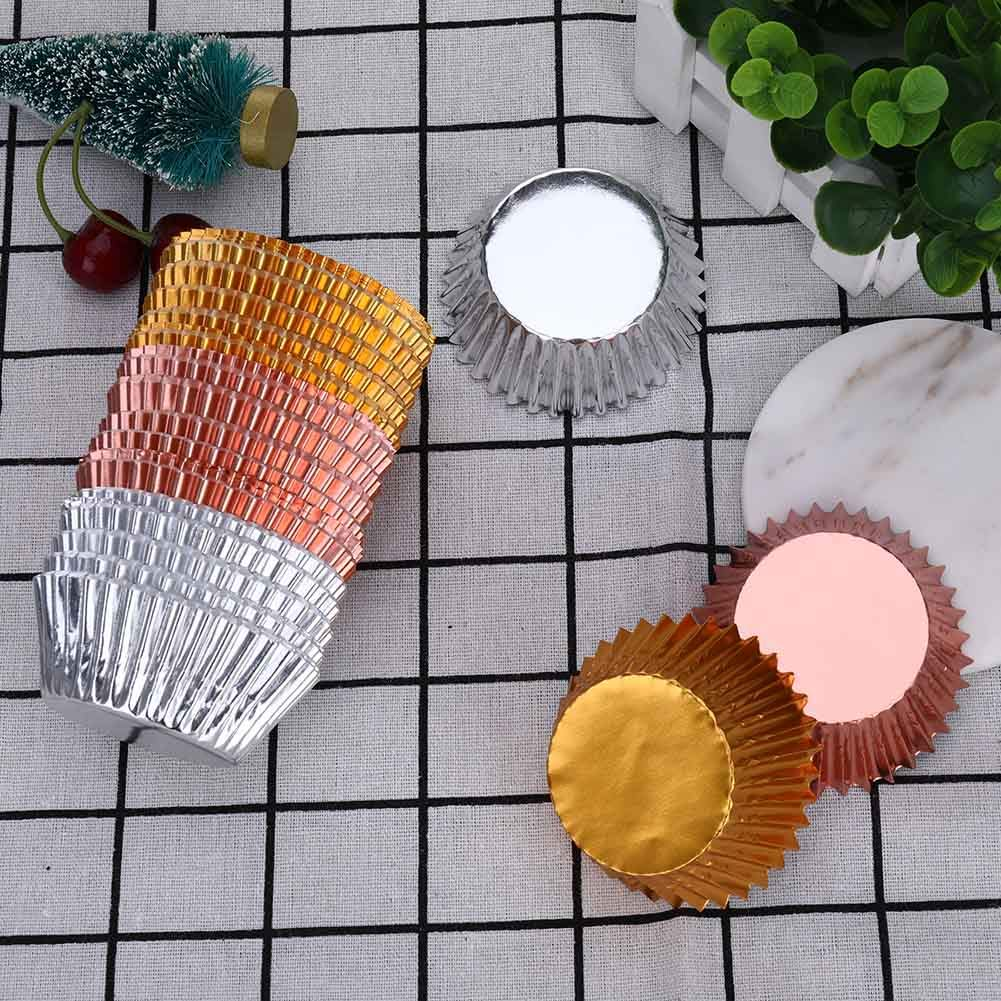 Zhongjiany 300 piezas de papel de aluminio met/álico para cupcakes y magdalenas oro, oro rosa, plateado 3 colores decoraci/ón para hornear