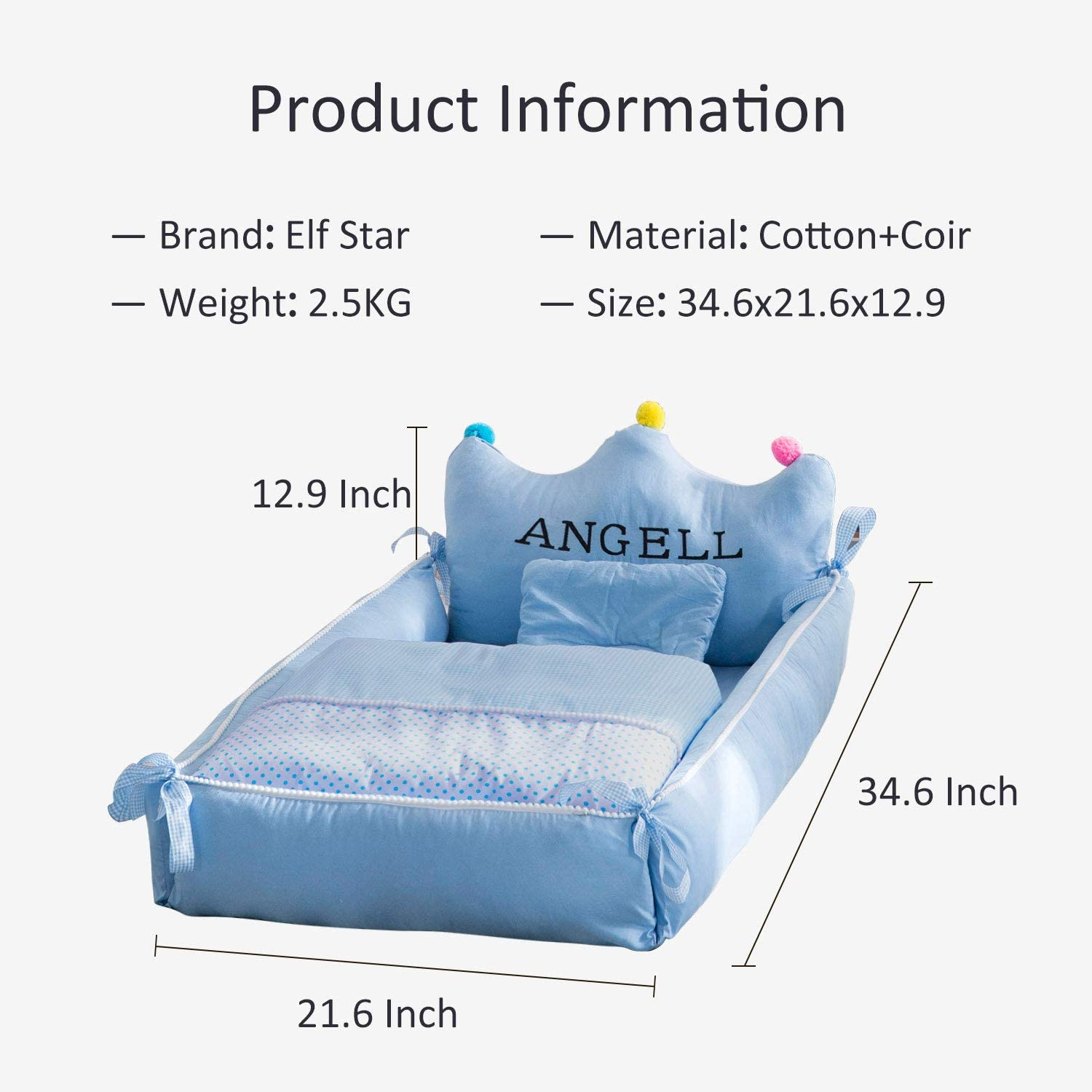 Elf Star 5 Pcs Portable Baby Bed Set Including Mattress Blanket Cover and Pillow for 0-12 Months Newborn Babies Breathable Washable Removable Crib for Co-Sleeping Napping Travel Bed Cover Blanket