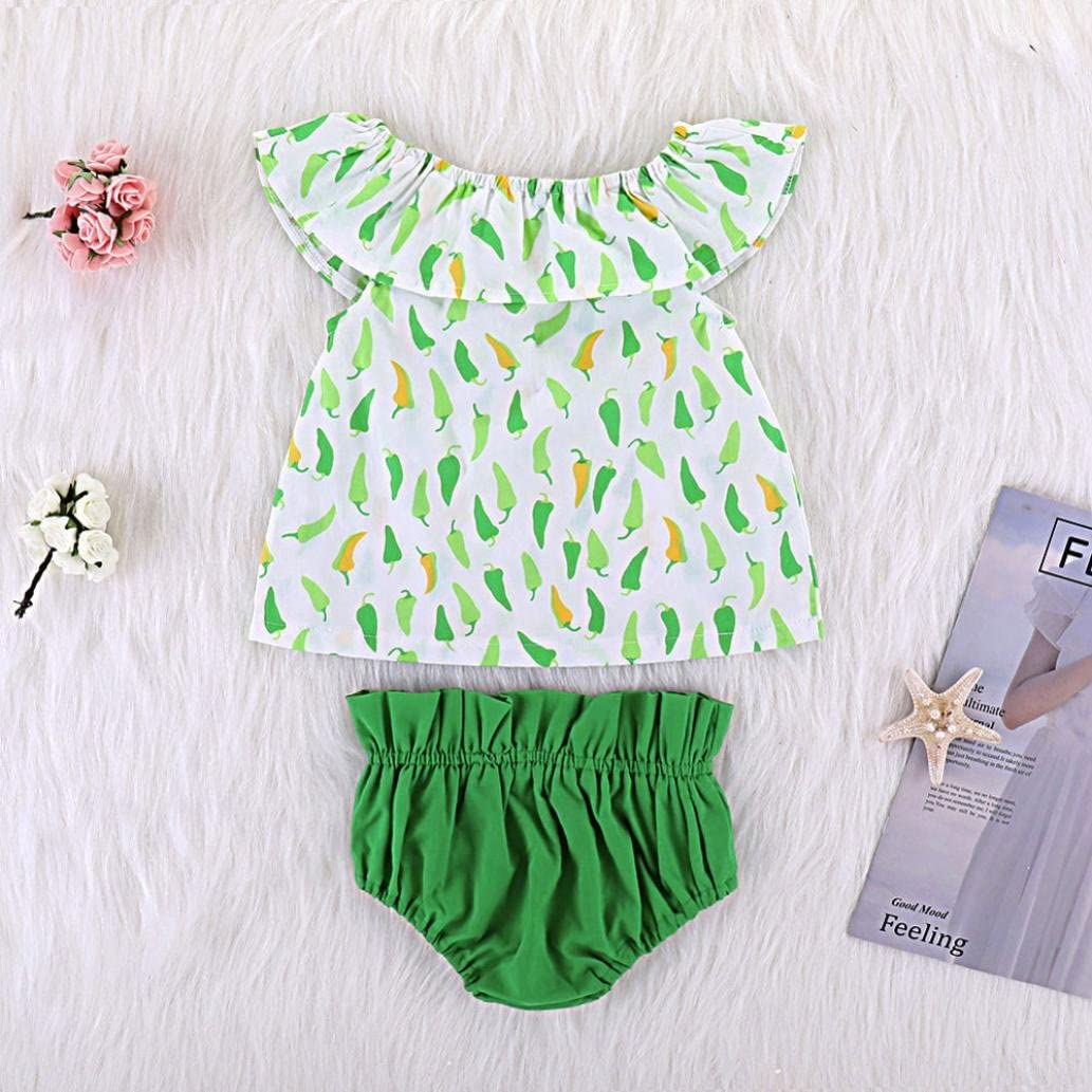 Efaster 2Pcs Infant Baby Girls Sleeveless Chilli Print Tops+Shorts Outfits Set