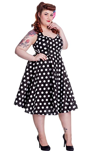 Vintage Polka Dot Dresses – 50s Spotty and Ditsy Prints Hell Bunny Plus Size 60s Black and White Polka Dot Halter Flare Party Dress $89.95 AT vintagedancer.com