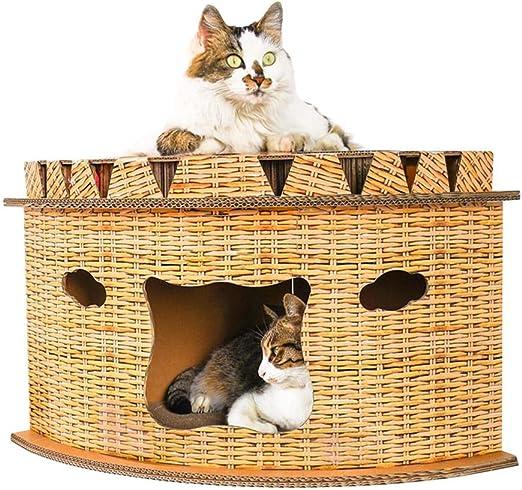 HoneybeeLY Camas y tapetes para Gatos, artículos para Mascotas, Muebles para Gatos, protección de Muebles, Juguetes para Gatos, diseño de Abanico en ángulo Recto, Dos Capas Superior e Inferior: Amazon.es: Productos para