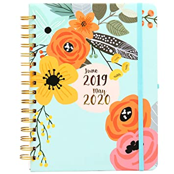 2019-2020 Academic Planner - Weekly & Monthly Hardcover Personal Organizer, 12 Month Calendar with Monthly Tabs, June 2019 Through May 2020, Floral ...