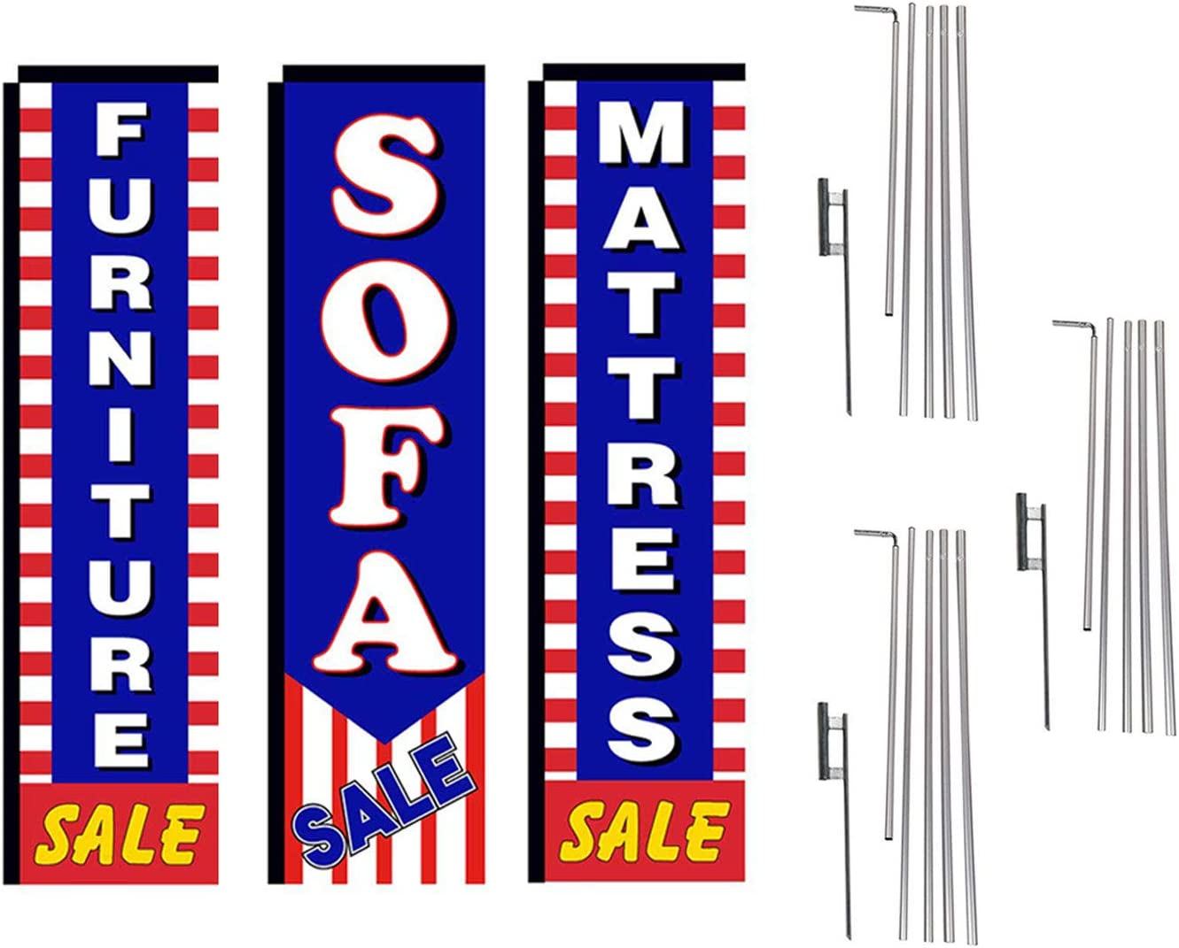 Mattress and Furniture Outlet Advertising Package of 3 Rectangle Feather Banner Flag Kits