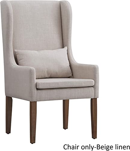 Inspire Q Potomac Slipcovered Wingback Host Chair by Artisan Beige Modern Contemporary, Rustic