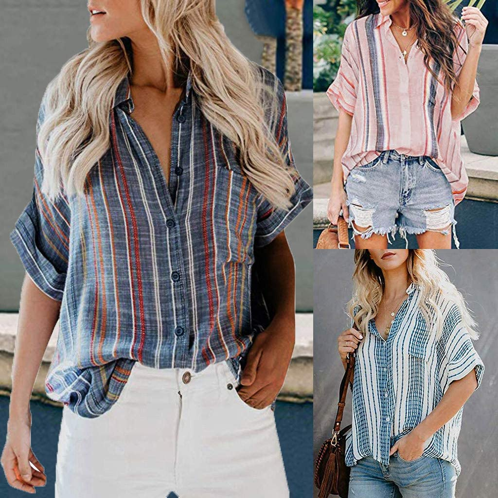 QIQIU Button Down Blouses Summer Womens Loose Pocket Color Block Stripe Prints Fashion Plus Size Tank Tops Shirt