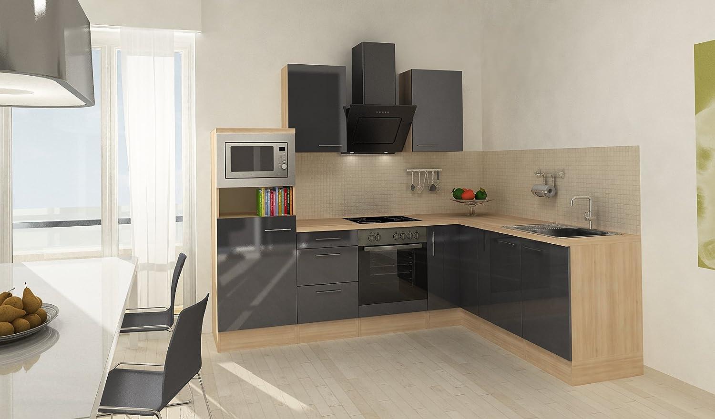 respekta Premium L ángulo de Forma de Cocina Acacia Gris 260 x 200 cm vitrocerámica recirculación: Amazon.es: Hogar