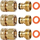SHOWNEW Garden Hose Quick Connectors, Solid Brass 3/4 inch GHT Thread Easy Connect Fittings No-Leak Water Hose Male Female Va