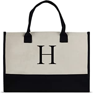 Monogram Tote Bag with 100% Cotton Canvas and a Chic Personalized Monogram (Black Block Letter - H)