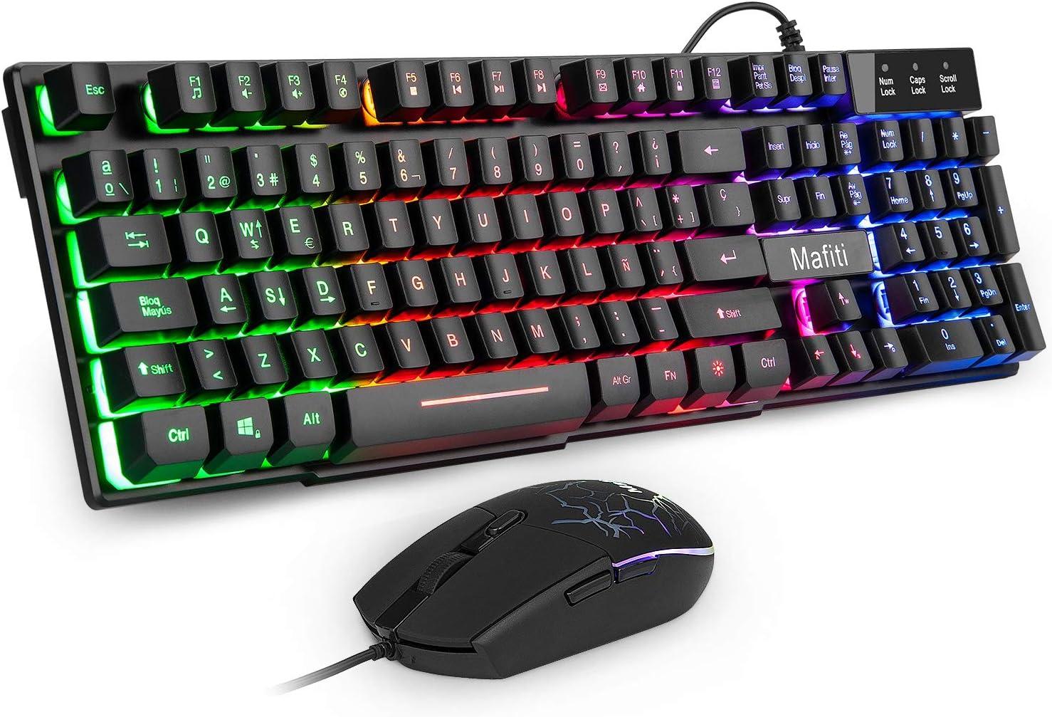 Mafiti RK101 Combo Ratón y Teclado USB ,Retroiluminación Rainbow LED y sensación de teclado mecánico , ideal para jugar y trabajar.: Amazon.es: Electrónica