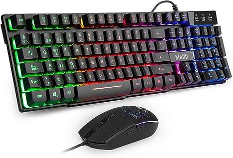 Mafiti RK101 Combo Ratón y Teclado USB ,Retroiluminación Rainbow LED y sensación de teclado mecánico , ideal para jugar y trabajar.