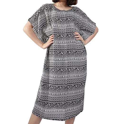fca08e44ce846 Rita   Risa Womens Bohemian Hippie Maxi Lightweight Long Caftan Dress Cover  Up (Large