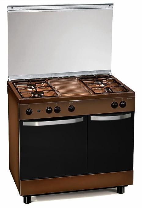 Cucina a gas 90x60x85 cm marrone 4 fuochi con forno a gas ...