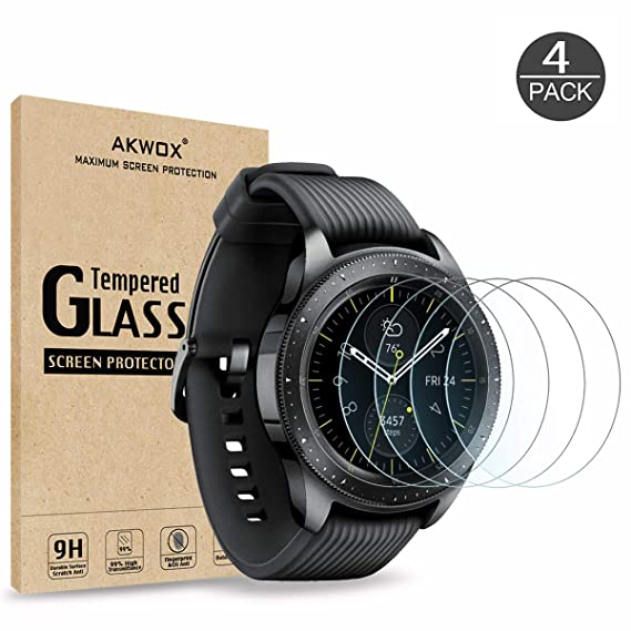 [4 Pack] Tempered Glass Screen Protector for Samsung Galaxy Watch 42mm / Gear S2, Akwox [0.33mm 2.5D High Definition 9H] Premium Clear Screen ...