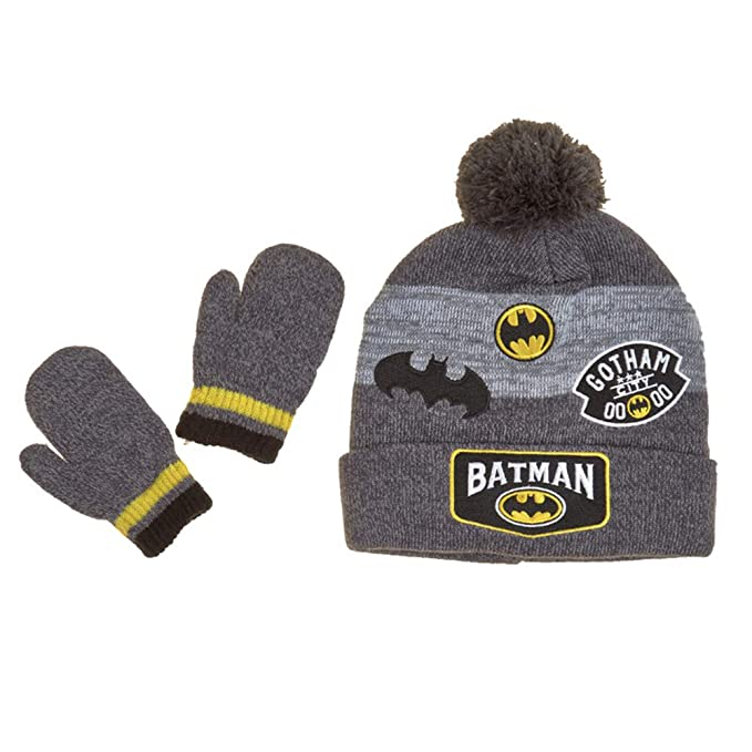 ddd55d7de6e Amazon.com  Batman Little Boys Toddler Cuff Beanie Hat   Mitten Set ...