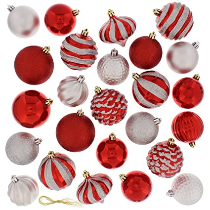 festive 60 piece ball christmas ornament set red silver
