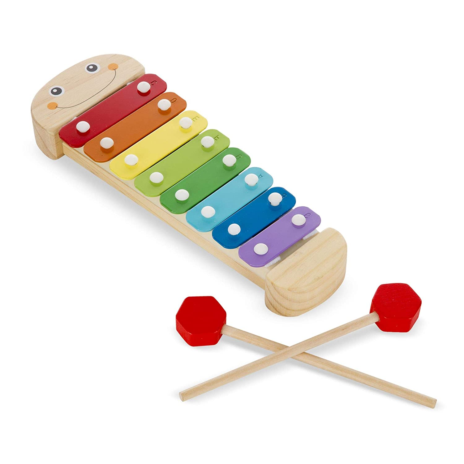 Rainbow-Colored One Octave of Notes 18 H x 6.2 W x 2 L 18 H x 6.2 W x 2 L Melissa and Doug 8964 Melissa /& Doug Caterpillar Xylophone Musical Instruments Self-Storing Wooden Mallets