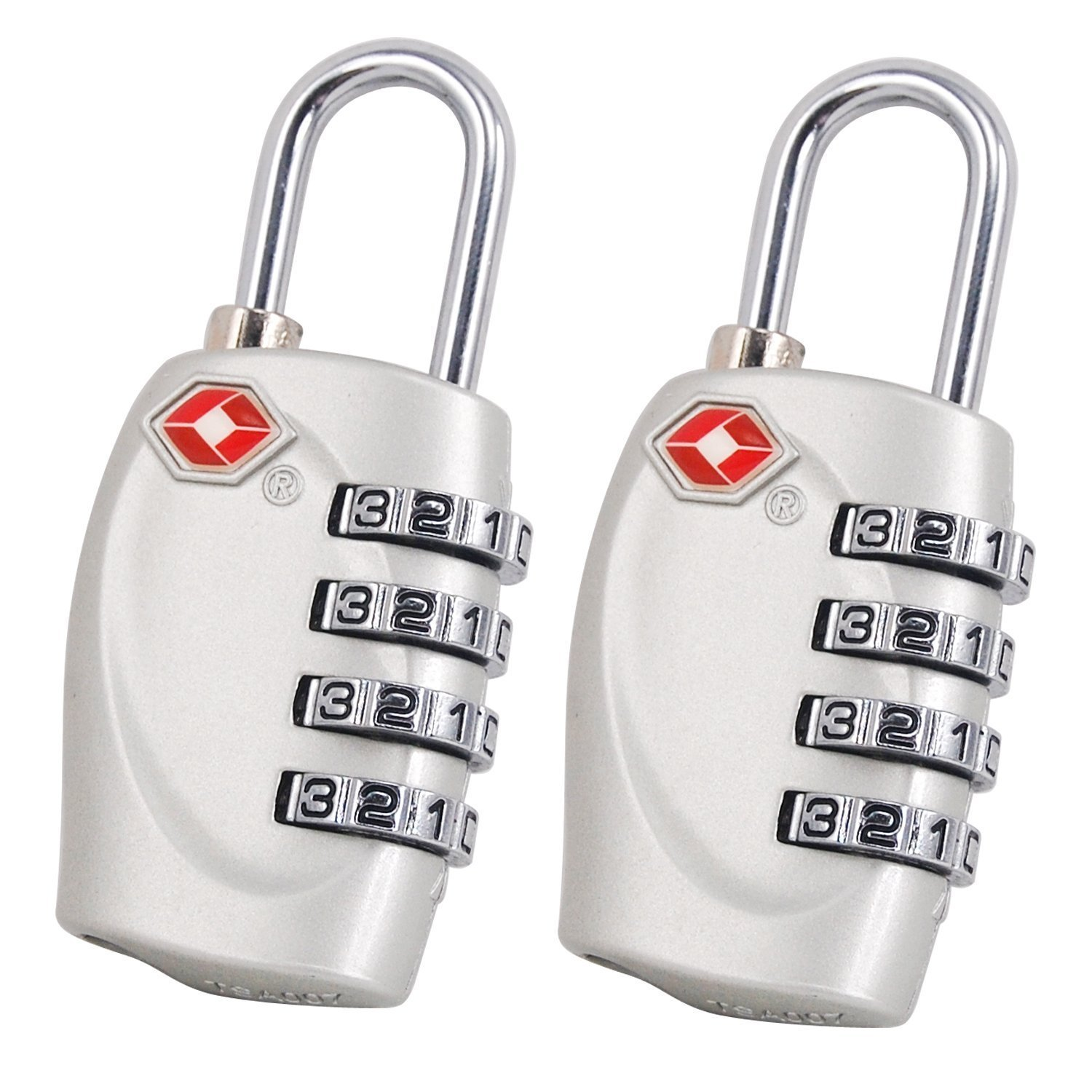 2 x TSA Security Padlock - 4-dial Combination Travel Suitcase Luggage Bag Code Lock (SILVER) - LIFETIME WARRANTY Travel Buddy