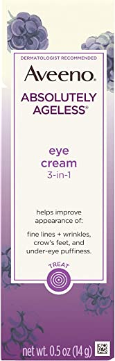 Aveeno Absolutely Ageless 3-in-1 Anti-Wrinkle Eye Cream for Fine Lines & Wrinkles, Crows Feet, & Under-Eye Puffiness, Antioxidant Blackberry Complex, Hypoallergenic, Non-Greasy, 0.5 oz