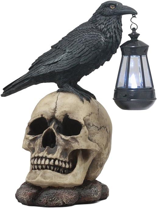 Amazon.com: Ebros Edgar Poe Corvus Raven Perching On Rose Skull Statue with Solar LED Lantern Light Crow Scavenger Bird Ossuary Figurine for Courtesy Path Light Or Night Light: Garden & Outdoor