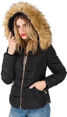 Parka Fourrure AKD Capuche Jacket Amovible Fausse Hiver Blouson Noir Doudoune Femme Courte Veste Chaud avec Manteau ulOPXkiTwZ