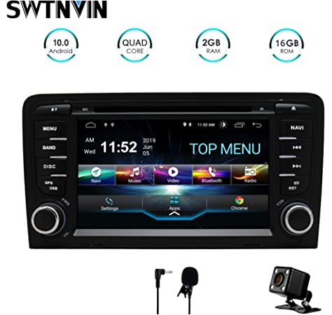 SWTNVIN Unidad de Audio estéreo para Coche Android 10 Compatible con Audi A3 Reproductor de DVD Radio de 7 Pulgadas Pantalla táctil HD navegación GPS con Control de Volante Bluetooth WiFi 2