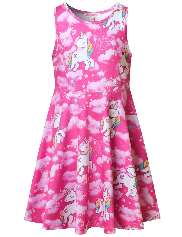 Pink Girls Unicorn Dresses Sleeveless Summer Casual Dress