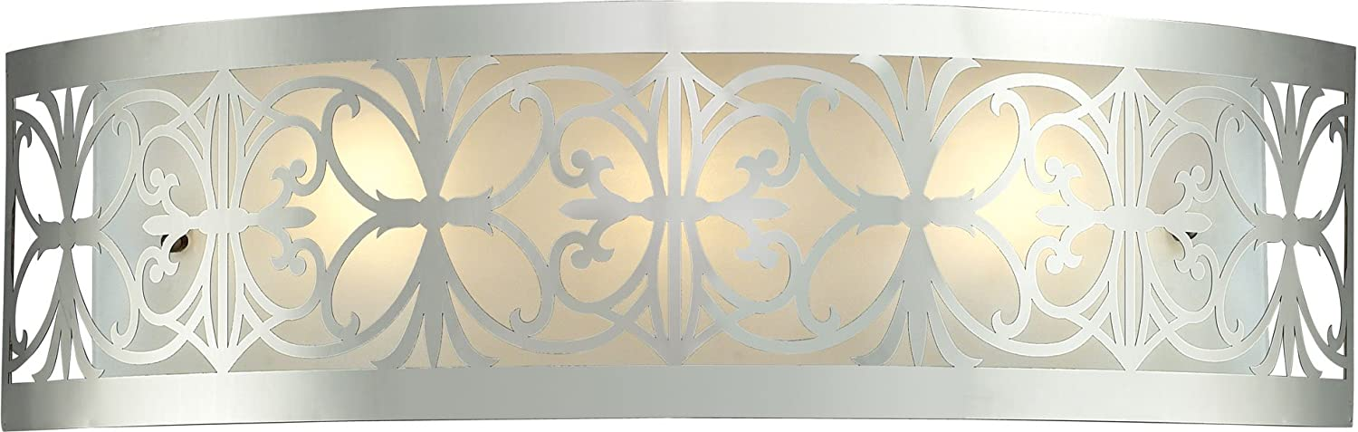 Elk Lighting 11432 3 25 by 7-Inch Willow Bend 3-Light Bathbar with Laser Cut Stainless Frosted Glass Shade, Polished Chrome Finish