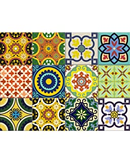 Backsplash Tile Stickers 24 Pc Set Authentic Traditional Talavera Tiles Stickersl Bathroom Kitchen Tile Decals
