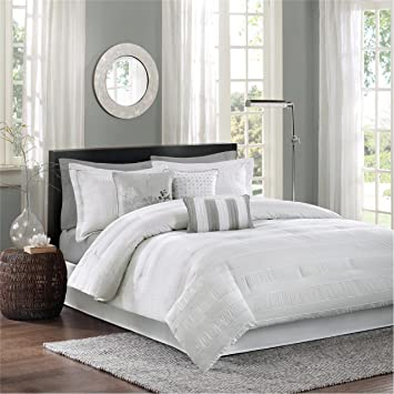 Madison Park Hampton Cal King Size Bed Comforter Set Bed in A Bag - White,  Jacquard Pleated Stripes – 7 Pieces Bedding Sets – Ultra Soft Microfiber ...