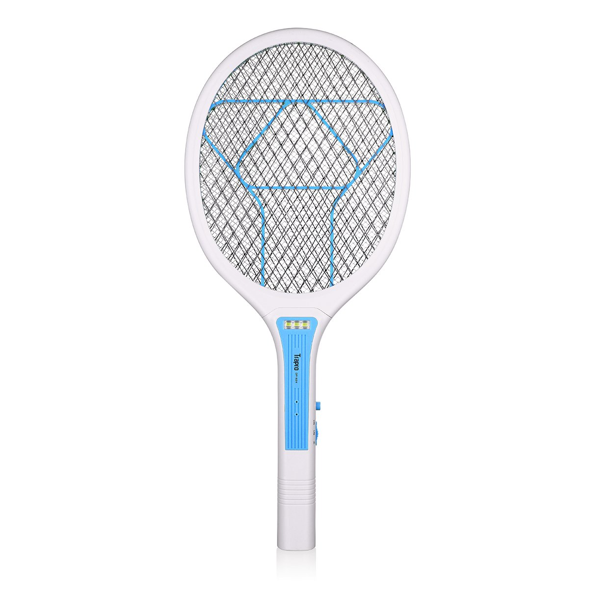 Trapro Bug Zapper Racket Electric Fly Swatter Mosquito Killer, USB Charging / 3000 Volt / Ultra-Bright LED / Unique 3-Layer Safety Mesh