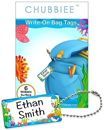 amazon com child id bag tags write on kids name tags for backpacks